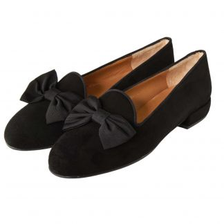Cordings Black Suede Bow Slipper Different Angle 1