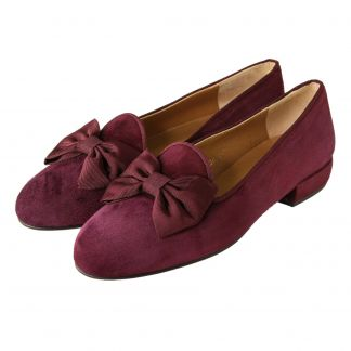 Cordings Wine Suede Bow Slipper Main Image