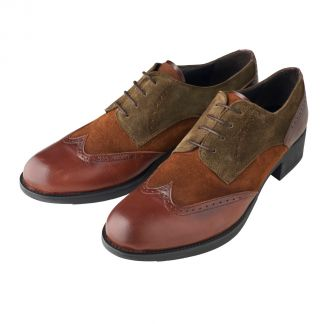 Cordings Brown and Sage Leather and Suede Brogue Shoes Main Image
