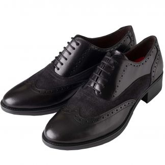 Cordings Black Leather and Suede Patterned Brogue Shoes Main Image