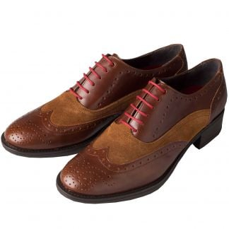 Cordings Brown Leather and Suede Brogue Shoes Main Image