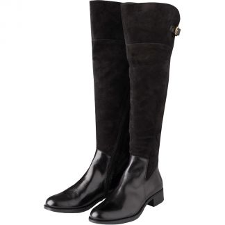 Cordings Black Suede and Leather Buckle Long Boot Main Image