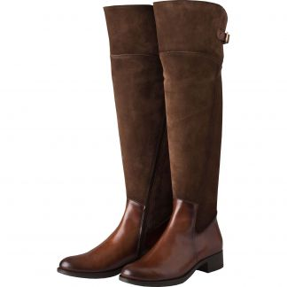 Cordings Chocolate Suede and Leather Buckle Long Boot Main Image