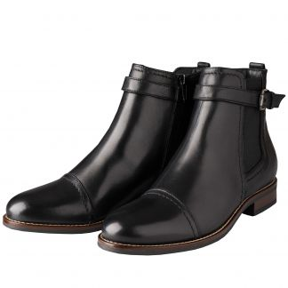 Cordings Black Leather Buckle Ankle Boot Main Image