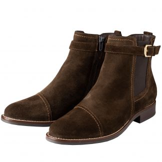 Cordings Olive Suede Leather Buckle Ankle Boot Main Image