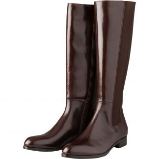 Cordings Chocolate Long Leather Gusset Boots Main Image