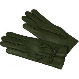 Cordings Olive Green Leather Tassel Gloves Main Image
