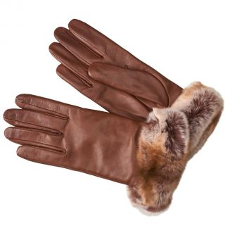 Cordings Tan Nappa Leather Gloves With Fur Cuff Main Image
