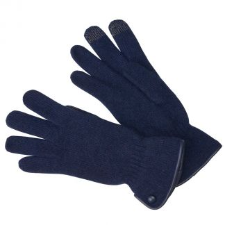 Cordings Navy Merino Leather Trimmed Gloves Main Image