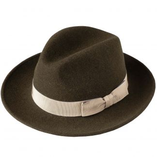 Cordings Olive Green Fedora with Contrast Ribbon Main Image