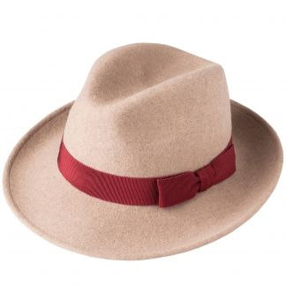 Cordings Mocha Fedora with Contrast Ribbon Main Image