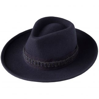 Cordings Navy Fedora with Contrast Ribbon Main Image