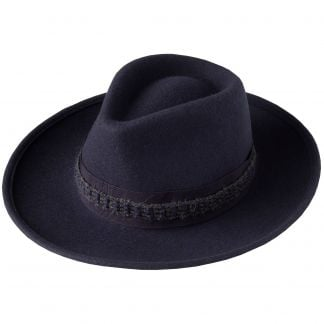 Cordings Navy Fedora with Contrast Ribbon Different Angle 1