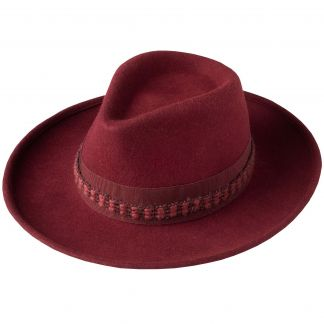 Cordings Wine Fedora with Contrast Ribbon Main Image