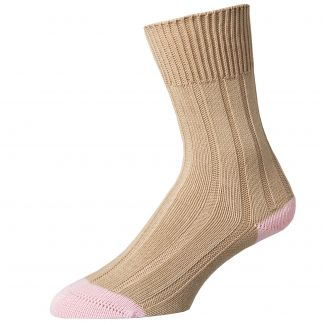 Cordings Cream Cotton Heel and Toe Socks Different Angle 1