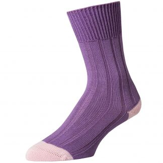 Cordings Lilac Cotton Heel and Toe Socks Different Angle 1