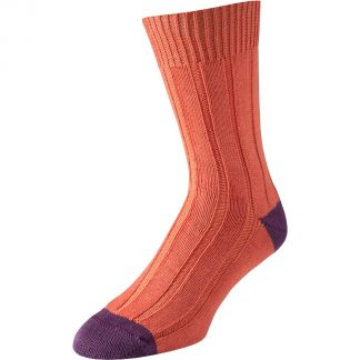 Cordings Orange Cotton Heel and Toe Socks Main Image