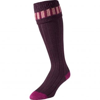 Cordings Plum Bristol Stripe Shooting Stocking Different Angle 1
