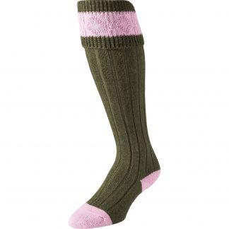 Cordings Olive Green Heel and Toe Shooting Stocking Main Image
