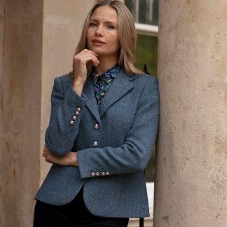 Cordings Blue Wantage Harris Tweed Chelsea Jacket Different Angle 1
