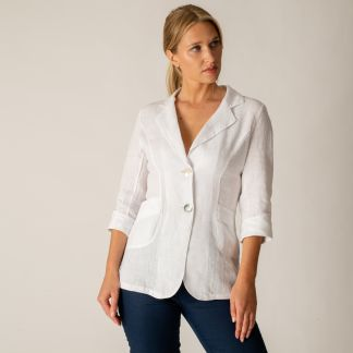 Cordings White Linen Casual Blazer Different Angle 1