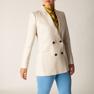 Cordings Cream Double Breasted Cotton and Linen Blazer Main Image
