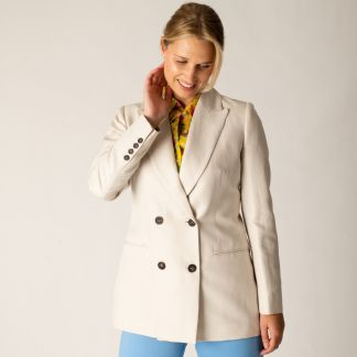 Cordings Cream Double Breasted Cotton and Linen Blazer Different Angle 1