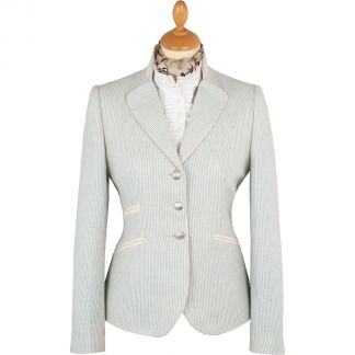 Cordings Blue Striped Cotton and Linen Nehru Jacket Main Image