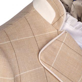 Cordings Cream Chiltern Check Nehru Jacket Different Angle 1