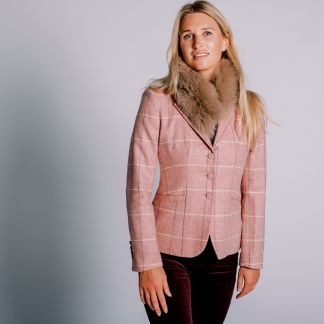 Cordings Pink Richmond Tweed Chelsea Jacket Different Angle 1
