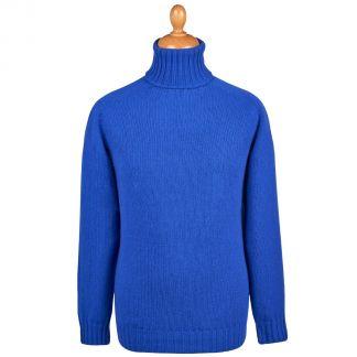 Cordings Bright Blue Geelong Roll Neck Jumper  Main Image
