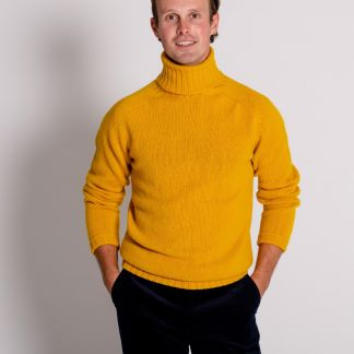 Cordings Gold Geelong Roll Neck Jumper  Different Angle 1