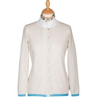 Cordings Cream Cotton Trim Cardigan Main Image