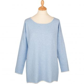 Cordings Pale Blue Contrast Button Back Cashmere Jumper Main Image