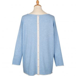 Cordings Pale Blue Contrast Button Back Cashmere Jumper Different Angle 1