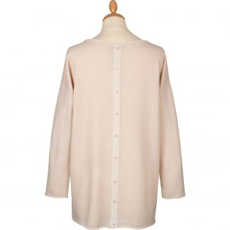 Cordings Cream Contrast Button Back Cashmere Jumper Different Angle 1
