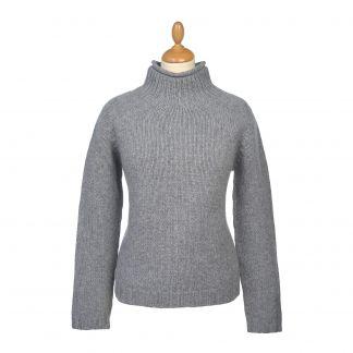 Cordings Grey Chunky Mock-Turtleneck Jumper Main Image