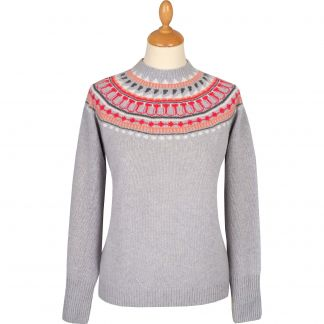 Cordings Light Grey Retro Geelong Fairisle Jumper Main Image