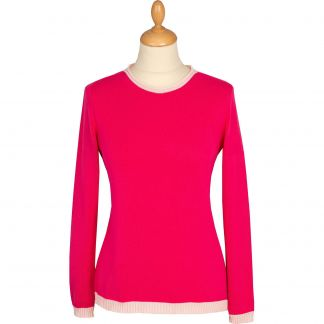 Cordings Fuchsia Cotton Contrast Crew Neck Main Image