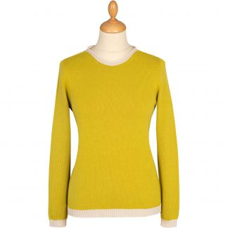 Cordings Lime Green Cotton Contrast Crew Neck Main Image