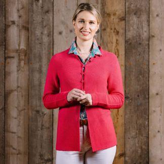 Cordings Fuchsia Pearl Button Cotton Cardigan Different Angle 1