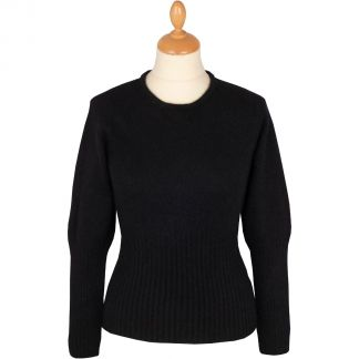 Cordings Black Possum Merino Crew Neck  Main Image