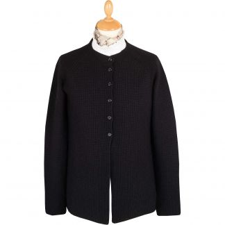 Cordings Black Merino Ribbed Crew Neck Cardigan Main Image