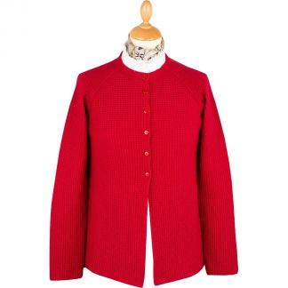 Cordings Red Merino Ribbed Crew Neck Cardigan Main Image