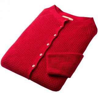Cordings Red Merino Ribbed Crew Neck Cardigan Different Angle 1