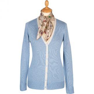 Cordings Pale Blue V-Neck Cotton Cardigan Main Image
