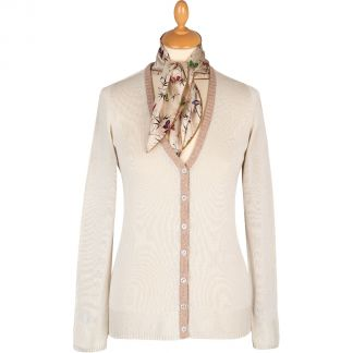 Cordings Cream V-Neck Cotton Cardigan Different Angle 1
