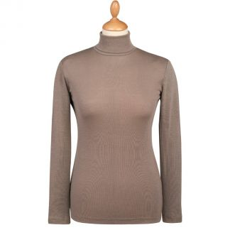 Cordings Taupe Superfine Merino Fitted Roll Neck Main Image