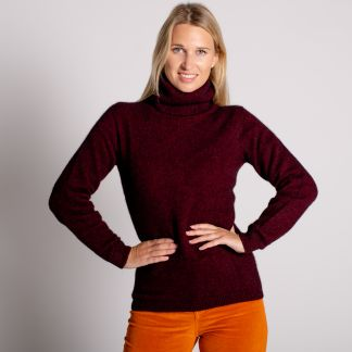 Cordings Wine Red Possum Cowl Neck Sweater Different Angle 1