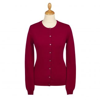 Cordings Wine Red Cashmere Cardigan Different Angle 1